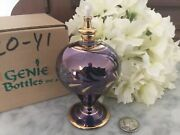 New Oil Lamp Mouth Blown Purple Glass 24k Gold Etched Egyptian Nib Genie Nos