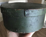 """Early 1800's Primitive Green Round Pantry Box App 7"""" Across, 3""""tall,22""""diameter"""