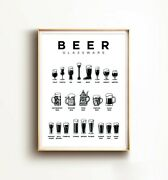 Beer Glassware Guide Print Types Of Beer Glasses And Mugs Art Hand Drawing Bee
