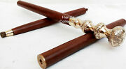 Vintage Collectible Antique Style Brass Victorian Wooden Walking Stick Cane Gift
