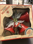 Vintage Lighted Christmas 3 Bell Cluster Red Illuminated Plastic - Works