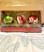 Fitz And Floyd Christmas Ornament Set - Hand Decorated Glass Ball Trio