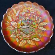 Northwood Peacock And Urn Large Ice Cream Bowl Pumpkin Marigold Carnival Glass