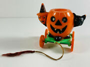 Rare Rosbro Halloween Candy Pull Toy Container Black Cat Witch Rosen