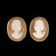 Vintage Cameo Stud Earrings 14k Yellow Gold Hand Carved Antique Estate Jewelry