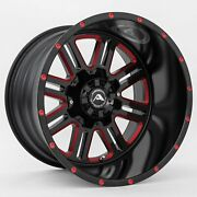 22x12 American Off-road A106 8x6.5 Et-44 Black Red Tint Wheels Set Of 4