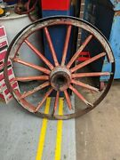 Antique 42and039 Wooden Wagon Carriage Wheels Steel Ring