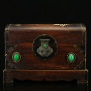 Antique Vintage Chinese Rosewood Carved Inlaid Gem Jewelry Box Collectibles Art