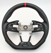 Sports Leather Steering Wheel Red Ring For 2016-2020 Honda Civic Gen 10th Type-r