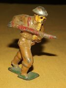 Vintage Hand Painted Wwi 3 High Metal Soldier With Gas Mask
