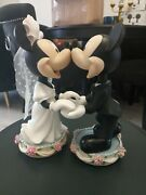 Disney World Mickey And Minnie Mouse Bride And Groom Figurines