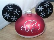2 Disney World Large Mickey Ears Blown Glass Ornaments Red Blue