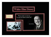 Walter E Disney Signed Autograph Book Page Museum Framed Ready To Hang