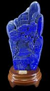 Chinese Lapis Lazuli Hand Carved Mountain And Landscape