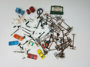 Lot Of Vintage Tyco Ho Train Railroad Town Accessories Cars Electric Poles Signs