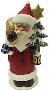 Ino Schaller Red Santa With Tree And Lantern German Paper Mache Candy Container