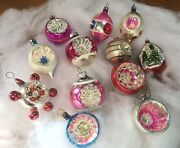 12 Vintage Shiny Brite And German Mercury Glass Ornaments Pink Indent Christmas
