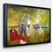 Designart 'human And Dragon Fly' Abstract Framed Canvas Art Small