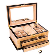 Lacquered Wood 3-level Jewelry Box With Gold Accents And Locking Lid Classic