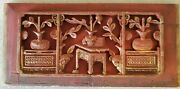 Asian Art Wood Picture, Hand Carved China Antique 1850-1900 Pre-owned