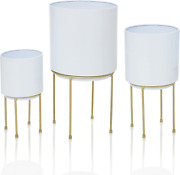 Set Of 3 Mid Century White Large Planters With Gold Metal Stand, Standing Metal