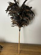Antique French Maid Black Feather Duster Ostrich Plumes Art Deco 1930s