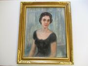 Gorgeous Antique Frame Carved With Mid Century Beutiful Woman Portrait Painting
