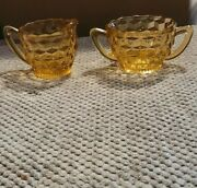 Amber Yellow Glass Cream And Suger Set