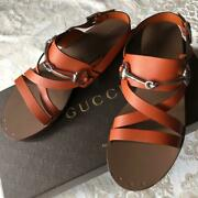 Womenand039s Sandals Horse Bit Orange Brown Leather Notation Size 40
