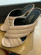 Pink Leather Sandal Mules Notation Size 36 Try-on Only