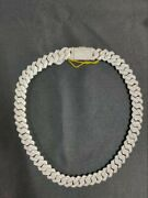 Natural Moissanite 22 Inch 14mm Sterling Silver Long Cuban Link Necklace Chain