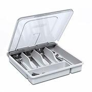 Utensil Holder For Countertop With Lid Plastic Silverware Tray For Drawer