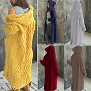 Womens Winter Outwear Chunky Cable Knit Hooded Cardigan Jumper Sweater Long Coat