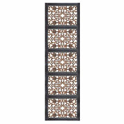 Rectangular Wall Panel With Intricate Floral Carvings Burnt Black