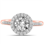 1.31 Ct Halo Round Real Diamond Wedding Ring Solid 18k Rose Gold Size 6 7 8 9