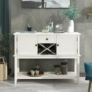 Console Table Wooden Wine Rack Open Shelf Storage Sideboard Home Furniture New