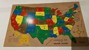 Vintage 1954 Complete Sifo United States Map Wooden Puzzle W/ Original Box