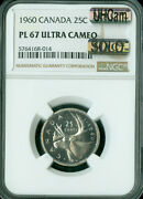 1960 Canada 25 Cents Ngc Pl67 Ultra Heavy Cam Mac Solo Finest Grade Spotless