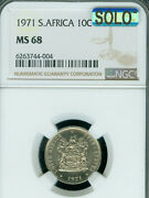 1971 South Africa 10 Cents Ngc Ms68 Mac Solo Finest Grade Mac Spotless Rare