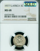 1977 South Africa 5 Cents Ngc Ms-68 Solo Finest Grade Mac Spotless