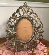 Atq., Brass, N. B. And I W, 2173, Art Nouveau, Picture Frame W/ Hinged Easel