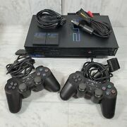 Sony Ps2 Video Game System Playstation 2 Console - 2 Controllers / Memory Cards