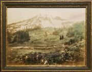 Rare Hand Tinted Photo Of Mt. Rainier From Paradise. Circa 1920. By Vs Waters