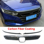 For 18-20 Accord Front Grille Grill Moulding Trim+eyelid Cover Carbon Fiber Look