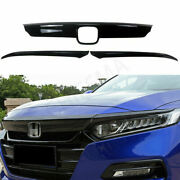 Gloss Black For 18 19 20 Honda Accord Front Grill Molding Trim + Eyelid Cover