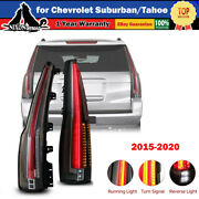 2015 - 2020 For Chevy Suburban Tahoe Led Tail Lights Rear Lamps Black Red Sets