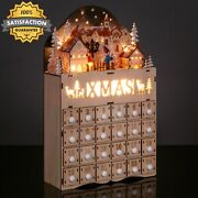 Wooden Christmas Village Advent Calendar W/ Operated Led Light Background