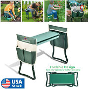 Garden Kneeler Seat W/ Kneeling Pad And Tool Pouch Folding Portable Bench Usa