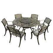 Outdoor Lattice 59-in. Round Dining Set With Lazy Susan And Bronze 7-piece Sets