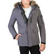 Yes Zee Men's Jacket In Grey Fixed Hood Removable Fur New